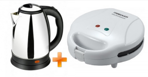 Magnum Aqua Express Cordless Steel Kettle - 1.8 Ltr. MG-65C + Magnum Single Slice Sandwich Maker - MG-56