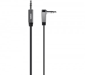 Belkin 3.5mm Flat Right Angle Aux Cable 0.9m - Black, BKN-AV10128CW03-BLK