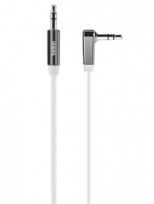 Belkin 3.5mm Flat Right Angle Aux Cable 0.9m - White - BKN-AV10128CW03-WHT