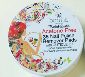 Bonita Cosmetics Nail Polish Remover Pads with Cuticle Oil and Acetone Free