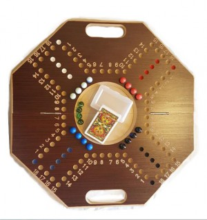 4 Players Eight Ribs Shape Flodable With Numbers - brown