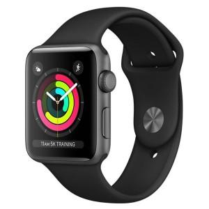 Apple Watch Series 3 42mm Space Gray Aluminum Case, Black Sport Band Smartwatch