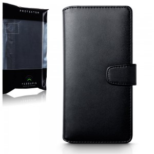 Terrapin Sony Xperia Xa Ultra Leather Case - Genuine Leather - Executive Folio Wallet Cover Flip - Card Slots - Bill Compartment - Black