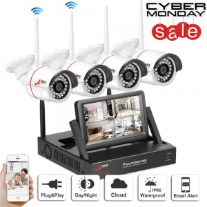 "SW Swinway Wireless Security Camera System 4CH with 7"" Monitor Home Surveillance DVR Kit."