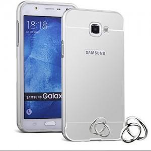 Galaxy A7 Case  Aluminum Metal Frame and Acrylic Plastics Mirror Plane Cover Case (Silver)