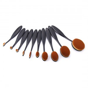 10pcs Pro Makeup Brushes Set Toothbrush Shaped Foundation Power Oval Cream Puff