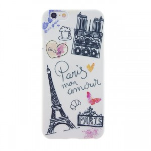 CaseBee - Watercolor Love In Paris Soft Clear TPU iPhone 6 / 6S Case (Package includes Screen Protector)
