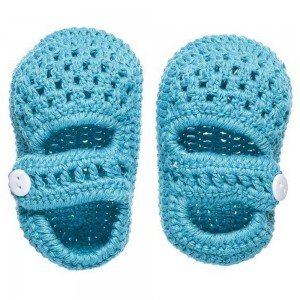 The Smurfs - Baby Crochet Shoes - Light Blue (0-3 Months)