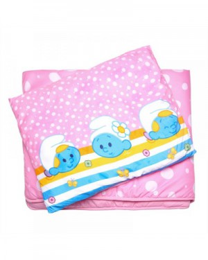 The Smurf - 2PCs Comforter Set Comforter - 83x103cm Pillow - 25x36cm - Pink