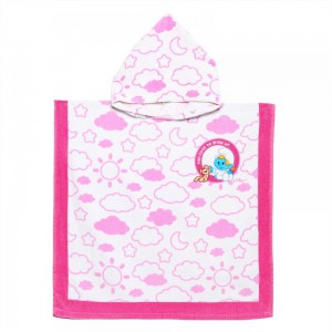 The Smurf - Hooded Towel - White & Pink