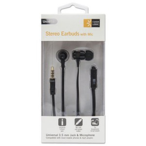 Case Logic Earbuds with Microphone - Black - 4 feet Cord - 800 Series - CL-STHD-800-BK