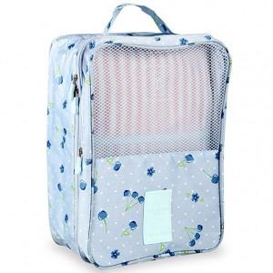 Shoe Bag Travel Organizer Shoe Cube-Portable Waterproof Foldable Shoe Tote Bag Organizer for Travel - Blue Cherry