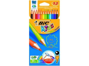BIC -  Kids Watercolor Pencils Aquacouleur, 12 Cardboard Box Water-soluble, Washable - BKCP000280