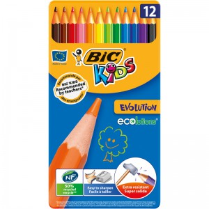BIC - Kids Crayons Evolution Ecolutions, 12 Metal Box - BKCP005896