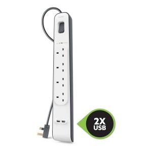 Belkin 4 Way Surge Protection Strip - 2m With 2 X 2.4amp Usb Charging - BKN-BSV401AF2M