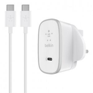 Belkin 15w USB-c Home Charger + USB-c to USB-c Cable Uk Plug - White - BKN-F7U008DR05-WHT