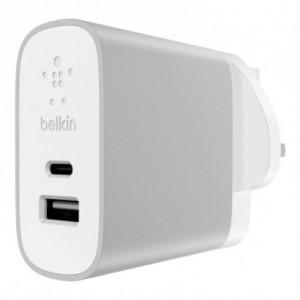 Belkin USB-c/USB-a Dual Ac Charger 27 w UK Plug - Silver - BKN-F7U011DRSLV