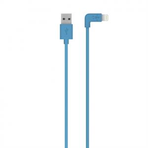 Belkin 90° Angled 2.4amp Charge & Sync Lightning Cable 1.2m - Blue (BKN-F8J147BT04-BLU)