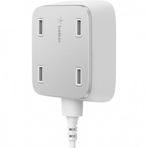 Belkin 4 Port Ultra-fast Home Uk Charger - 4 X 2.4amp Mountable Usb Charger (BKN-F8M990DRWHT)