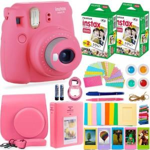 Fujifilm Instax Cam Mini 9 - Case + Album + Film + Accessories - Flamingo Pink - 6270351622464
