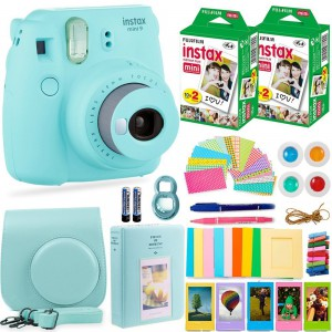 Fujifilm Instax Cam Mini 9 - Case + Album + Film + Accessories - Ice Blue - 6270351622426