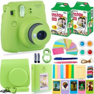 Fujifilm Instax Cam Mini 9 - Case + Album + Film + Accessories - Lime Green - 6270351622433