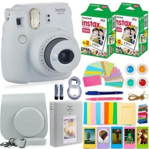 Fujifilm Instax Cam Mini 9 - Case + Album + Film + Accessories - Smoky White - 6270351622457