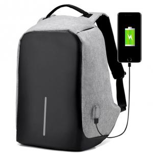 Access - Anti-Theft Backpack with USB Charging Port  - Grey - AT001-GRY