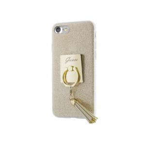 Guess Transparent Case with Ring Stand and Tassel - Gold - GUHCP7RSGO