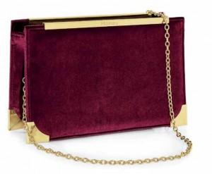 Honey Accessories - Burgundy Velvet Handbag -Gold Plated