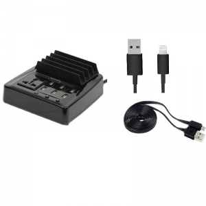 Promate Ultra-Fast USB Charging Terminal with Universal Power Socket + Lightning & Micro USB Cables