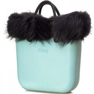 O bag Turquoise With Real Black Fur and Short  Black Leather Handles - OBDY14-OBHFS01-OBTF05