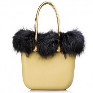 O bag Mustard With Black Real Fur and Golden Handles - OBDY1-OBHF16-OBTF05