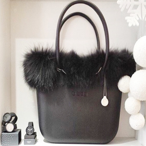 O bag With Real Fur and Leather Long Handles Total Black  (OBDY15-OBHF11-OBTF05)