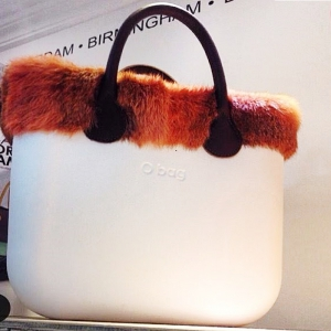 O bag Mini White With Real Orange Fur and Real Black Leather Short Handles OBMB20-OBMTF04-OBHS01
