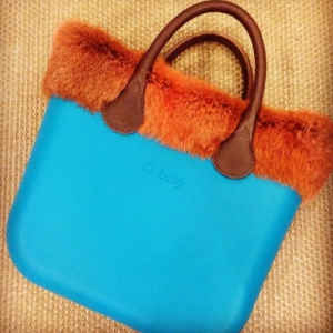 O bag Mini Water Blue With Real Orange Fur and Real Brown Leather Short Handles (OBMB13-OBMTF04-OBHS02)