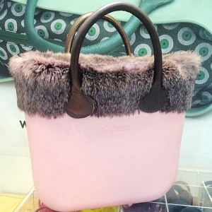 O bag Mini Powder Pink With Rose Real Fur and Real Brown Leather Short Handles - OBMB06-OBMTF03-OBHS02