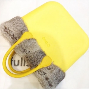 O bag Mini Yellow With Real Grey Fur and Yellow Leather Short Handles OBMB36-OBMTF01-OBHK05