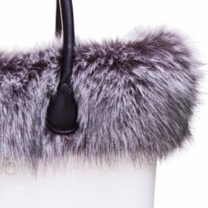 O bag White With Faux Grey Fur and Long Leather Black Handles (OBDY20-OBHF11-OBTFF07)