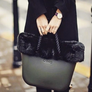 O bag Mini Black With Back Faux Fur and Short Black Rope - OBMB15-OBMHR01-OBTFF02