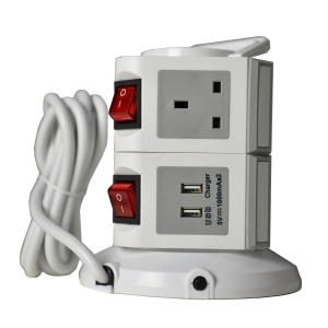WePlug Power Extension 7 Socket - 2 USB Ports - Grey