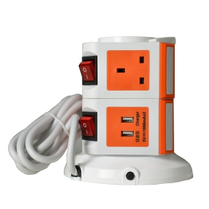 WePlug Power Extension 7 Socket - 2 USB Ports - Orange
