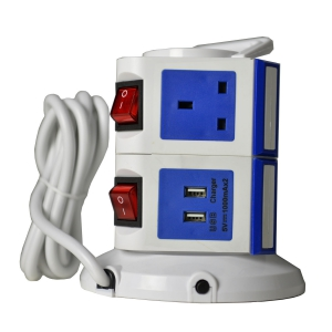 WePlug Power Extension 7 Socket - 2 USB Ports - Blue