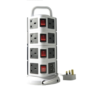 WePlug Power Extension 15 Socket - 2 USB Ports - Black