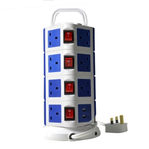 WePlug Power Extension 15 Socket - 2 USB Ports - Blue