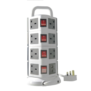 WePlug Power Extension 15 Socket - 2 USB Ports - Grey