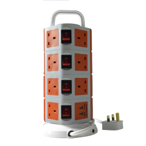 WePlug Power Extension 15 Socket - 2 USB Ports - Orange