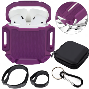 Moretek Airpods Case Sports Accessories Protective Silicone Cover (Dark Purple)