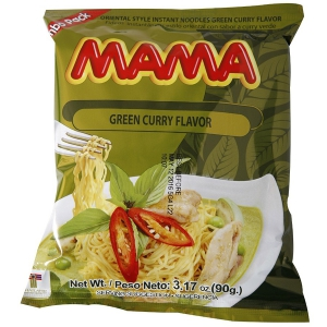 Mama Ramen Instant Noodles Green Curry Flavor - Jumbo Pack of 20