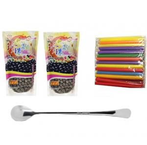Wufuyuan - Black Tapioca Pearl 8.8 Oz (2bag) + 50 Extra wide Fat Boba Drinking Straw + One NineChef Spoon